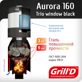 "Дровяная печь для бани Grill`D ""Aurora 160 TRIO Window"" фотография"